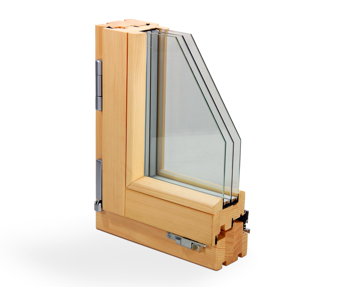 Vertical section of a laminated window scantling